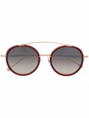 Солнцезащитные очки-авиаторы в круглой оправе Matsuda. Цвет: красный