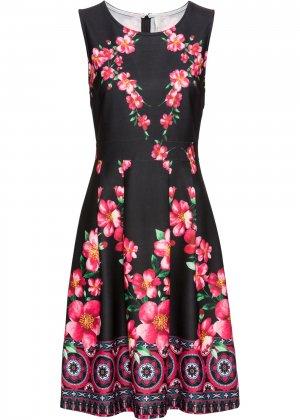 Летнее платье с принтом bonprix. Цвет: черный