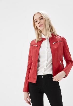 Куртка кожаная Z-Design. Цвет: красный