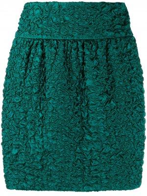 Юбка мини со сборками Saint Laurent. Цвет: зеленый