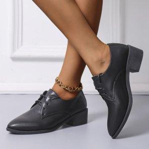 Оксфорды на шнурках массивный SHEIN. Цвет: чёрный