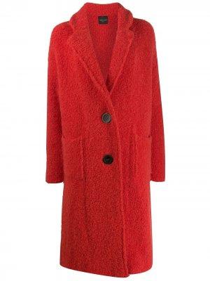 Однобортное пальто Roberto Collina. Цвет: красный