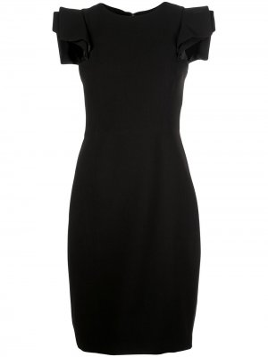 Платье миди с объемными плечами Halston Heritage. Цвет: черный