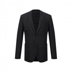 Пиджак из шерсти и шелка Z Zegna. Цвет: серый