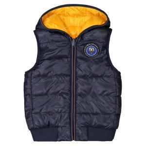 Куртка стеганая с капюшоном без рукавов, 4-14 лет IKKS JUNIOR. Цвет: желтый/ синий