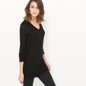 Пуловер струящийся с V-образным вырезом La Redoute Collections. Цвет: белый,черный