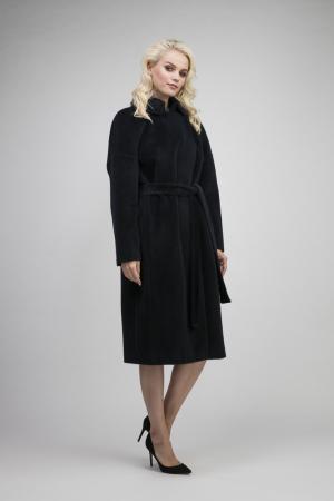 Длинное пальто на большой размер из альпака сури Leoni Bourget. Цвет: темно-синий