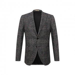 Пиджак из шерсти и хлопка Sartoria Latorre. Цвет: серый