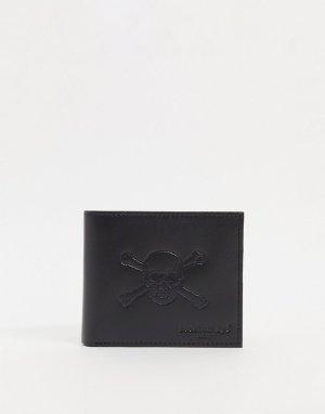 Бумажник из кожи с изображением черепа -Черный цвет Peckham Rye