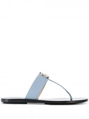 Сандалии с T-образным ремешком Gucci. Цвет: синий