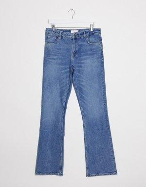 Синие расклешенные джинсы скинни с заниженной талией -Синий ASOS DESIGN
