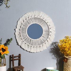 Зеркало Настенное украшение с бахромой SHEIN. Цвет: бежевые