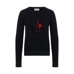 Пуловер из смеси шерсти и кашемира Moncler. Цвет: синий