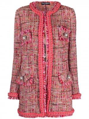 Твидовый жакет с бахромой и искусственным жемчугом Dolce & Gabbana. Цвет: розовый