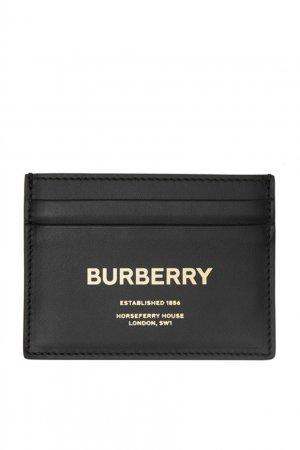 Черная визитница с золотистым логотипом Burberry. Цвет: черный