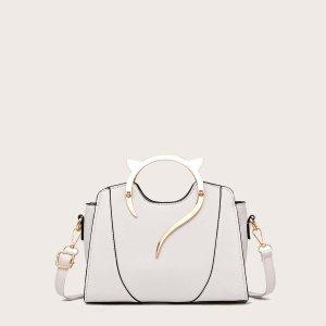 Металлическая сумка-портфель с ушной ручкой SHEIN. Цвет: белый