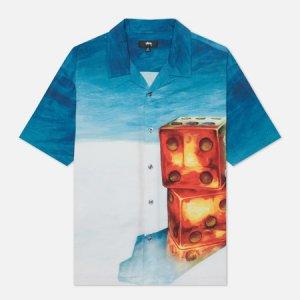 Мужская рубашка Dice Painting Stussy. Цвет: голубой