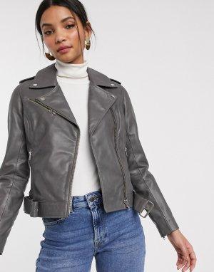 Кожаная байкерская куртка серого цвета -Серый Barneys Originals