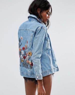 Джинсовая куртка с вышивкой River Island. Цвет: синий