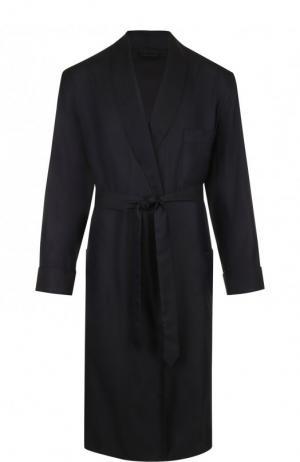 Шелковый халат с поясом и шалевым воротником Brioni. Цвет: синий
