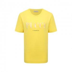 Хлопковая футболка Emilio Pucci. Цвет: жёлтый