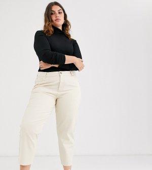 Светло-бежевые свободные джинсы бойфренда ASOS DESIGN Curve-Белый Curve