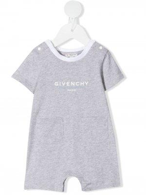Короткий комбинезон с логотипом Givenchy Kids. Цвет: серый