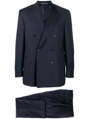 Строгий костюм с двубортным пиджаком Canali. Цвет: синий