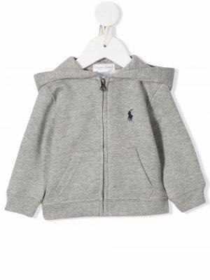Худи на молнии с вышитым логотипом Ralph Lauren Kids. Цвет: серый