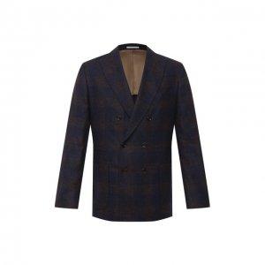 Шерстяной пиджак Brunello Cucinelli. Цвет: синий