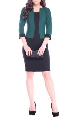 Платье MAURINI. Цвет: черный, темно-изумрудный