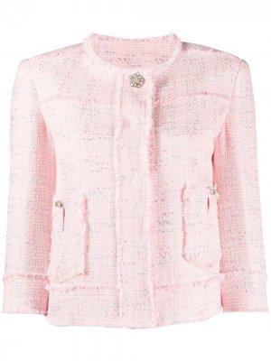 Короткий твидовый жакет LIU JO. Цвет: розовый
