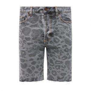 Джинсовые шорты Saint Laurent. Цвет: серый