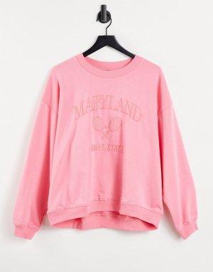 Розовый свитшот из органического хлопка с логотипом Maryland Nana-Розовый цвет Monki