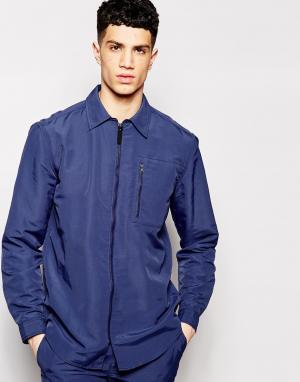 Куртка в стиле рубашки на молнии Libertine. Цвет: синий