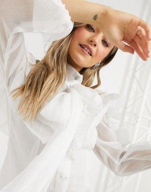 Блузка цвета слоновой кости с большими оборками и oversized-рукавами -Белый Forever U