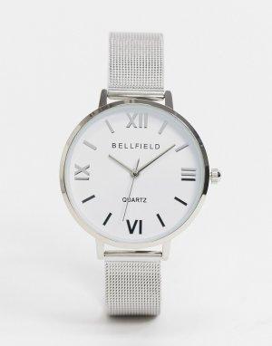 Серебристые часы с сетчатым ремешком -Серебряный Bellfield