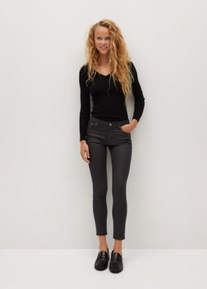 Укороченные вощеные джинсы-скинни Isa - Mango. Цвет: коричневый
