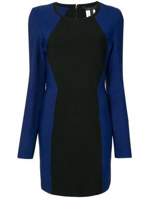 Платье мини в стиле колор-блок BCBG Max Azria. Цвет: синий