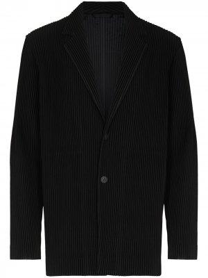 Плиссированный однобортный пиджак Homme Plissé Issey Miyake. Цвет: черный