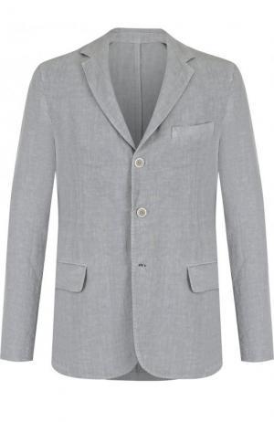 Однобортный льняной пиджак 120% Lino. Цвет: серый