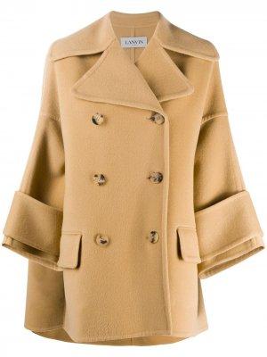 Двубортное пальто А-силуэта LANVIN. Цвет: нейтральные цвета