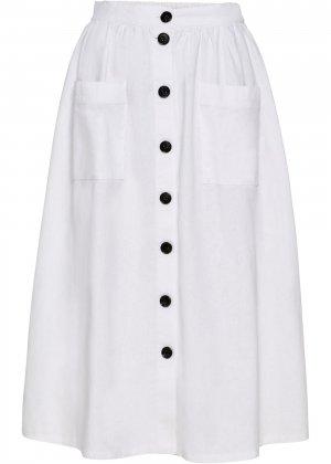 Льняная юбка на пуговицах bonprix. Цвет: белый