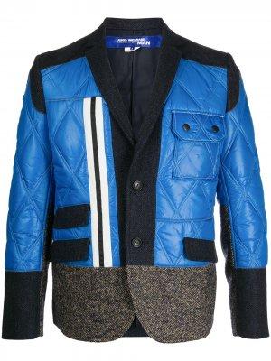 Однобортный пиджак со вставками Junya Watanabe MAN. Цвет: синий