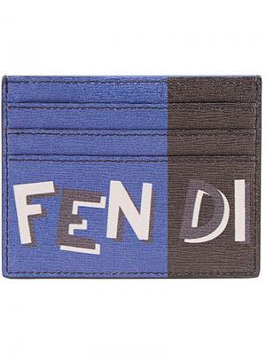 Визитница с логотипом Fendi. Цвет: серый