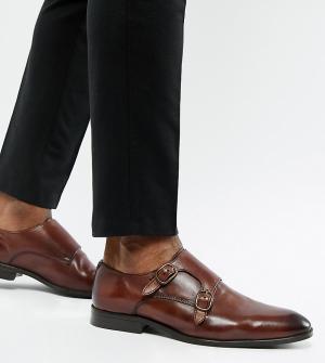 Коричневые кожаные монки для широкой стопы -Коричневый ASOS DESIGN