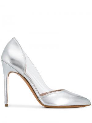 Туфли-лодочки с заостренным носком и эффектом металлик Albano. Цвет: серебристый