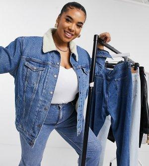 Синяя джинсовая куртка бойфренда с искусственным мехом Levis Plus-Голубой Levi's