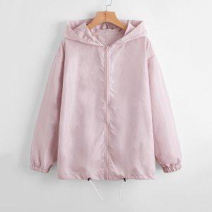 Куртка-ветровка на кулиске с молнией SHEIN. Цвет: нежний розовый