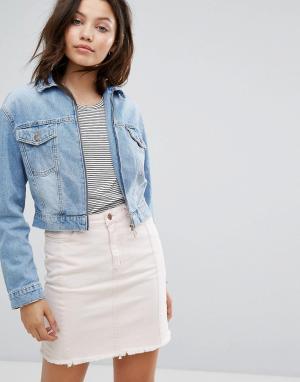 Укороченная джинсовая куртка с молнией New Look. Цвет: синий